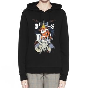 NWOT A.P.C Black cotton Dolls of Hell hoodie XS-S